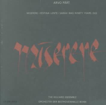 PART:MISERERE BY HILLIARD ENSEMBLE (CD)